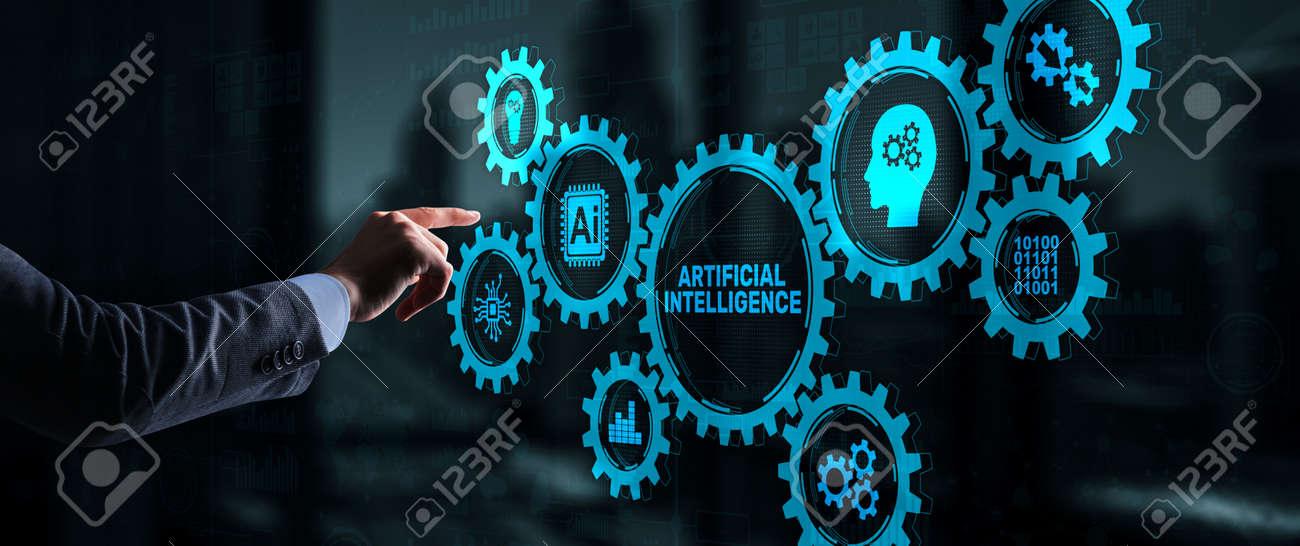 Artificial intelligence. Man clicks on 3d virtual screen Ai. Technology concept - 169590362