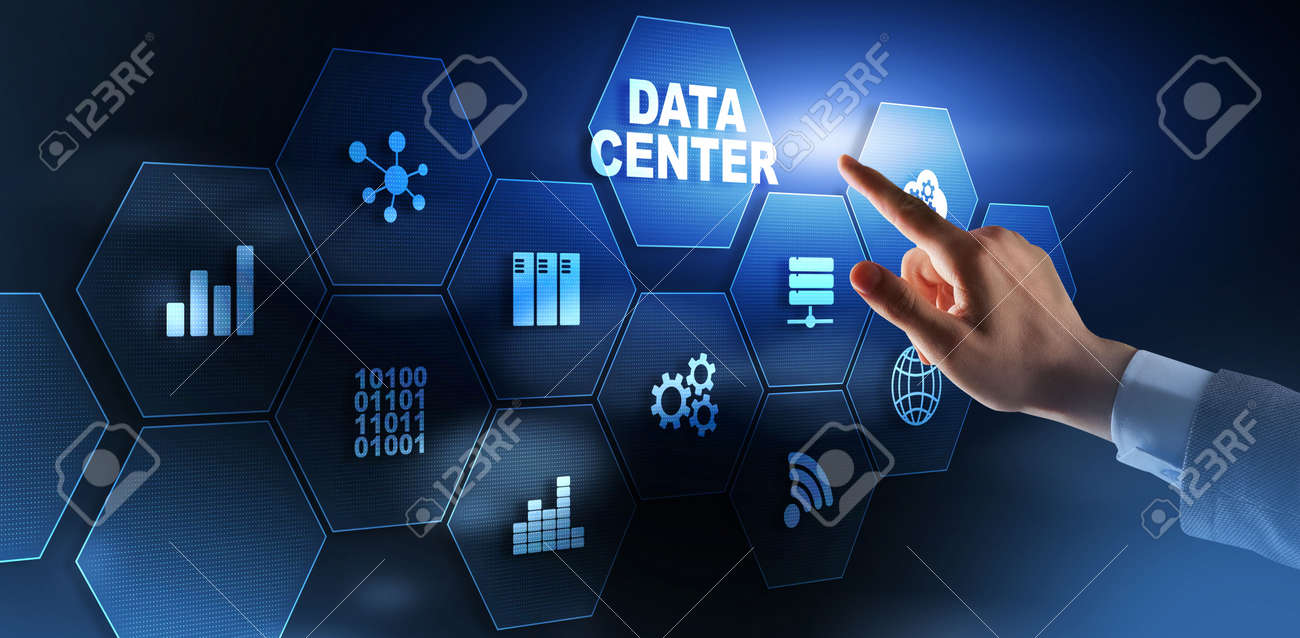 Finger presses on the icon Data Center. Business Concept - 169590363