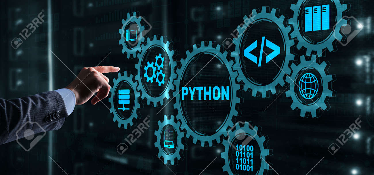 Python Programming Language. Programing workflow abstract algorithm concept on virtual screen - 169590366