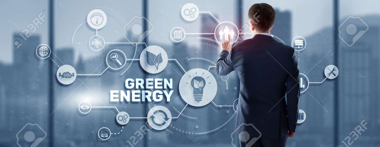 Green Energy Natural Ecology Power electric speed creative. Technology ecology concept - 169590379