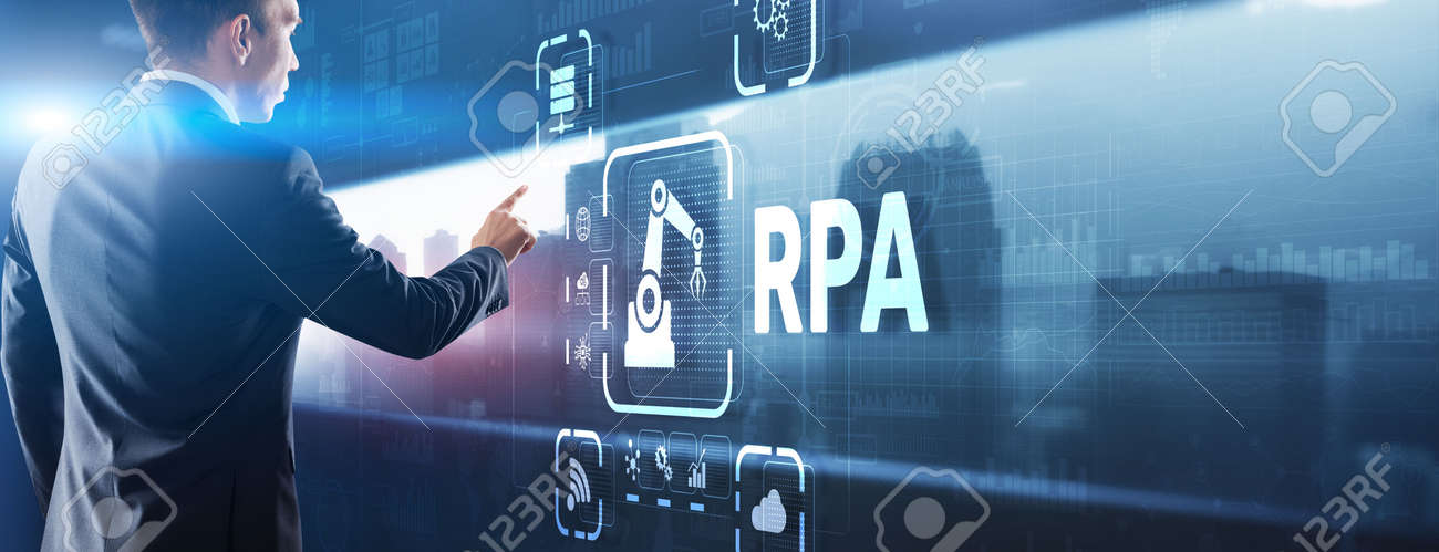 RPA Robotic Process Automation system. Big data and business concept - 169590383