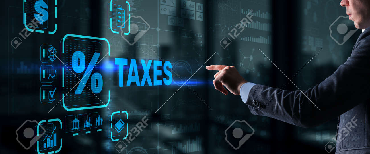 Concept of taxes paid by individuals and corporations such as VAT, income tax and property tax. Background for your business - 169590387