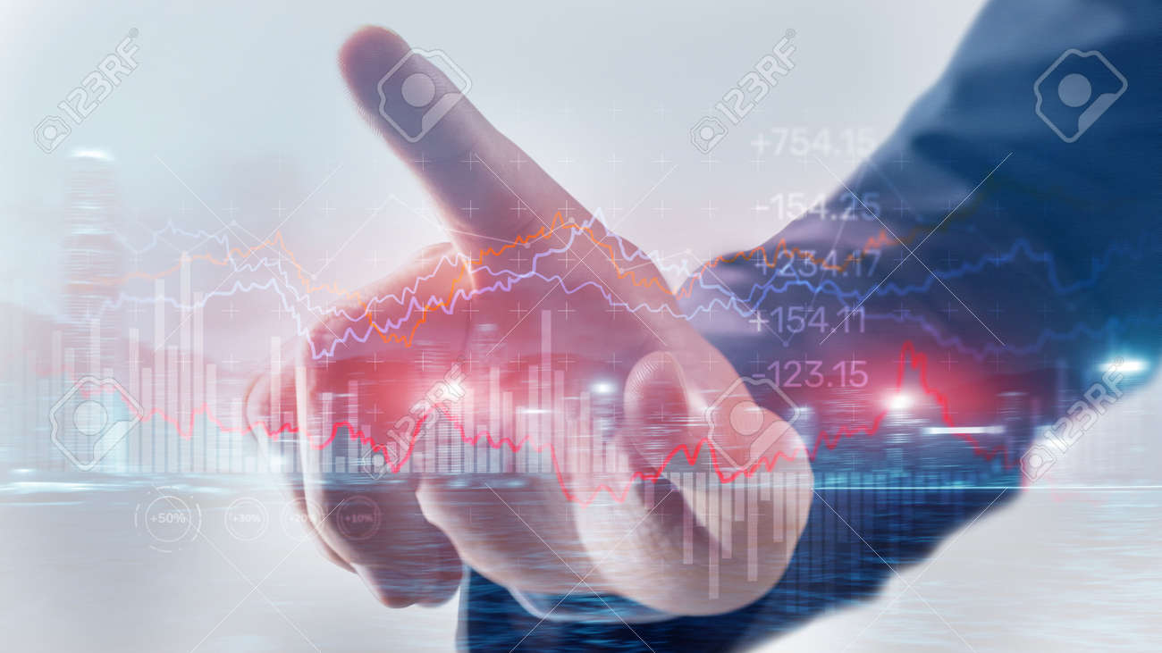 Stock market graph and candlestick. Abstract finance background - 169590658