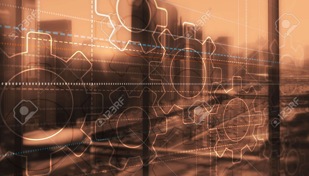 Dots lines and gears on city background - 169590689