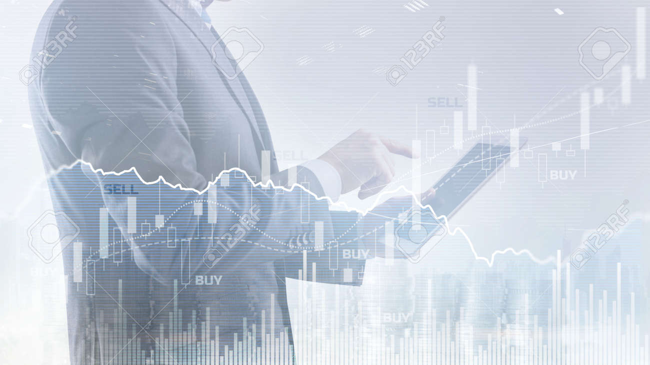 Abstract financial graph office building background, financial and trading concept - 169590691