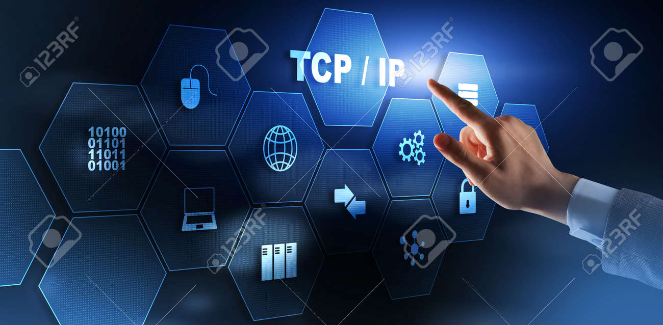 TCP IP. Network data transmission model on abstract background. - 169591276