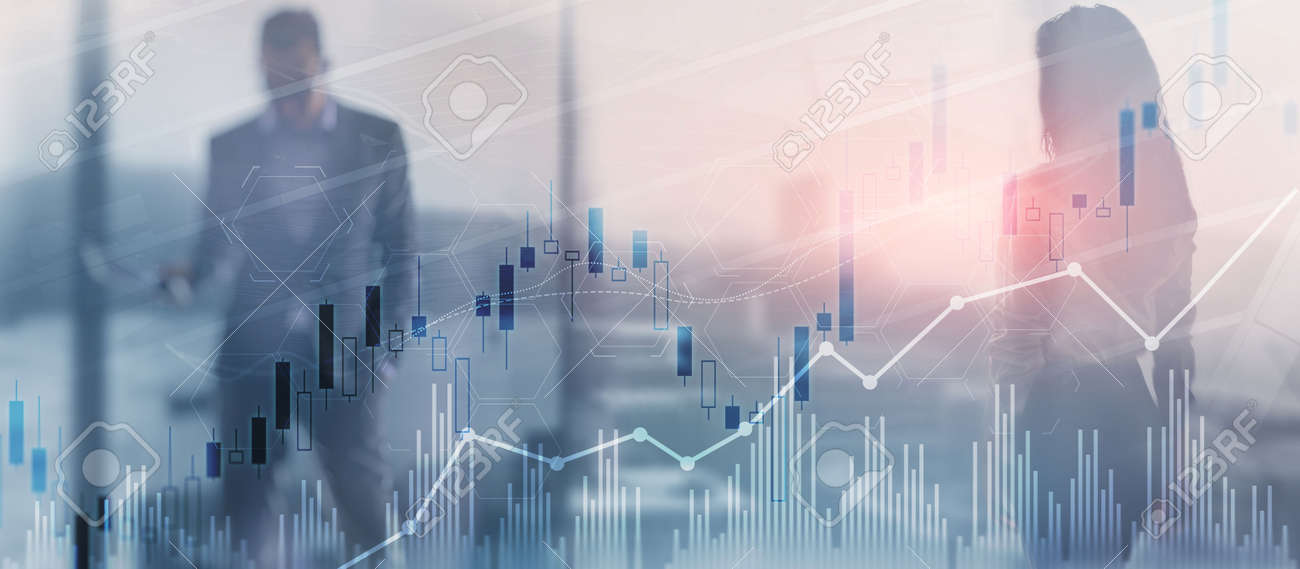 Trading candlestick chart and diagrams on blurred office center background people - 170086229
