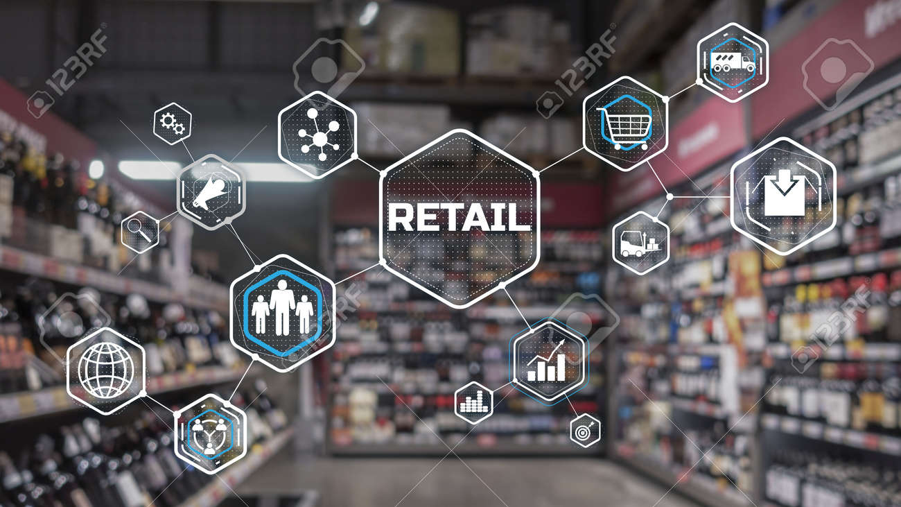 Retail Marketing Channels E-commerce. Shopping automation on blurred supermarket background 2021 - 170086016