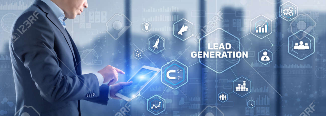 Man clicks on the inscription Lead Generation. Analysis Business Research Interest Concept - 170086643