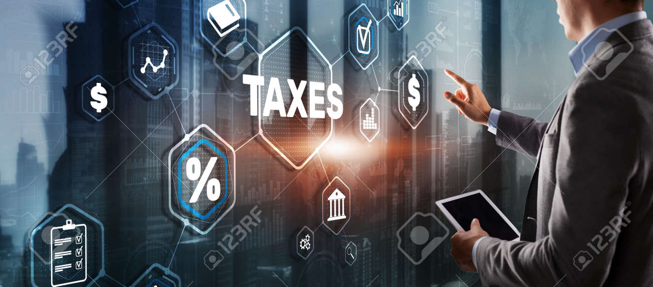 Concept of taxes paid by individuals and corporations such as VAT, income tax and property tax. Background for your business - 170221115