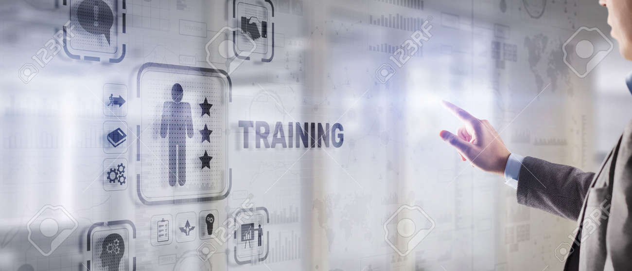 Trainning concept. Businessman pressing on touch screen interface inscription - 170221105