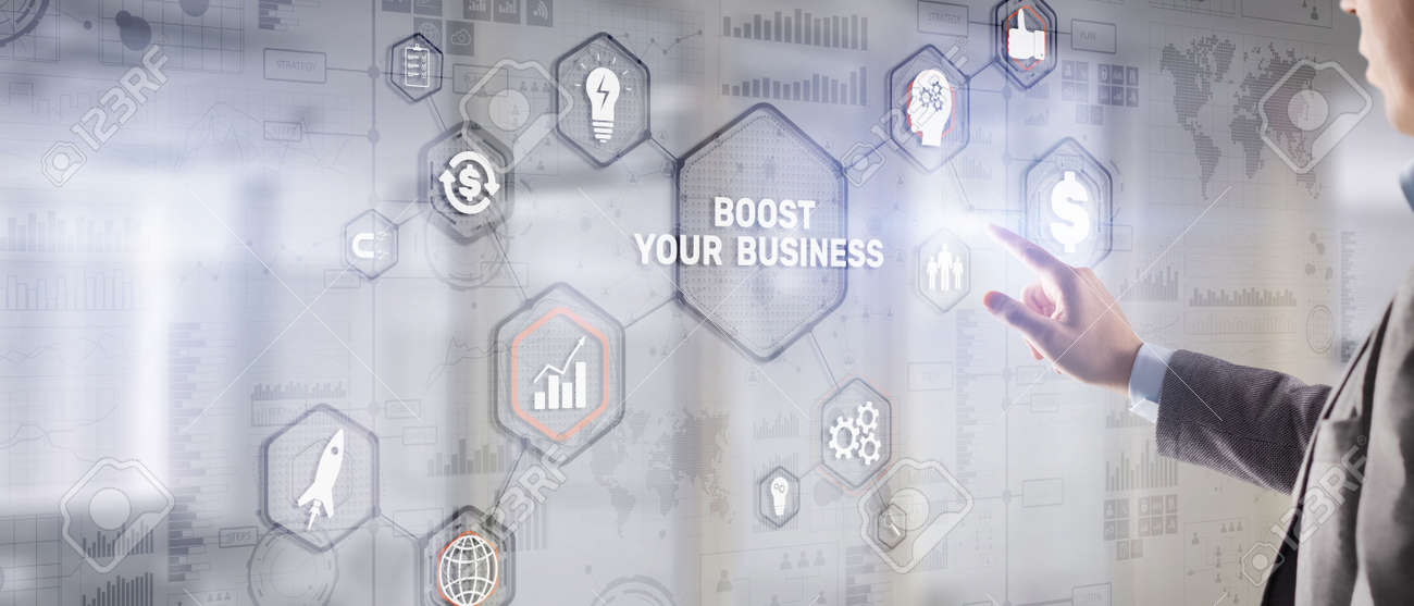 Boost Your Business 2021. Businessman touching finger virtual screen - 170220368