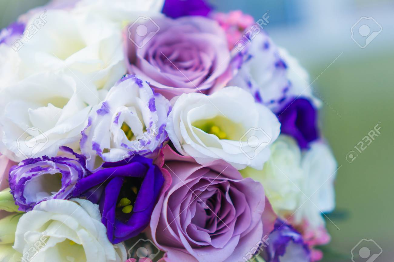 Beautiful Bouquet Of Purple And White Colors Wedding Bouquet Stock