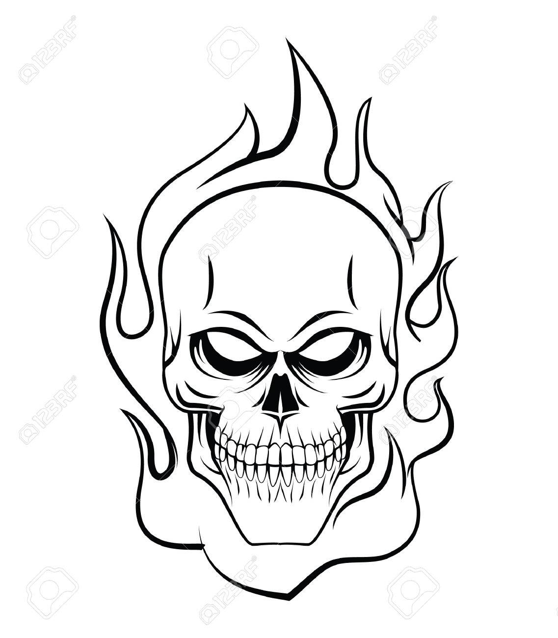 Skull Fire Stock Vector