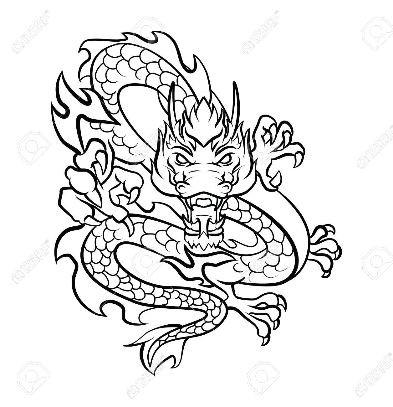 Dragon Tattoo Vector Illustration Royalty Free Cliparts Vectors And Stock Illustration Image 31711974 Temporary tattoos, stickers, apparel design, cards, wedding invitations, greeting cards, packaging design, logos. dragon tattoo vector illustration