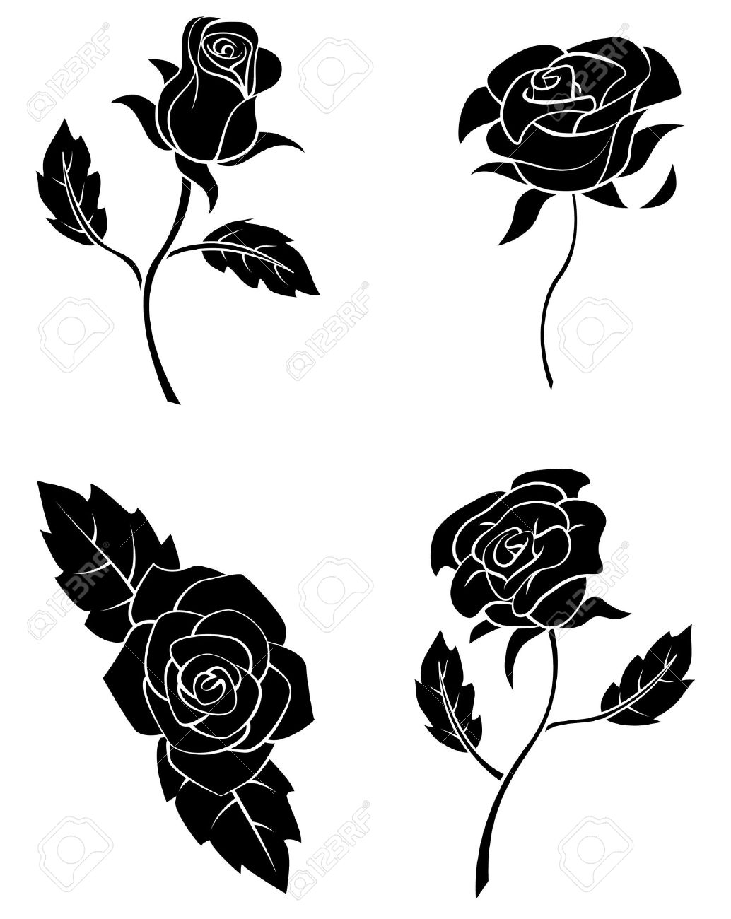 Black Silhouette Collection Of Rose Flower - 35688271