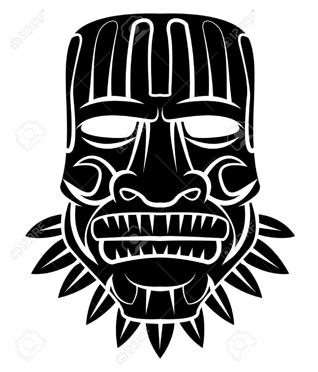 Totem Mask Black Silhoutte Of - 35688439