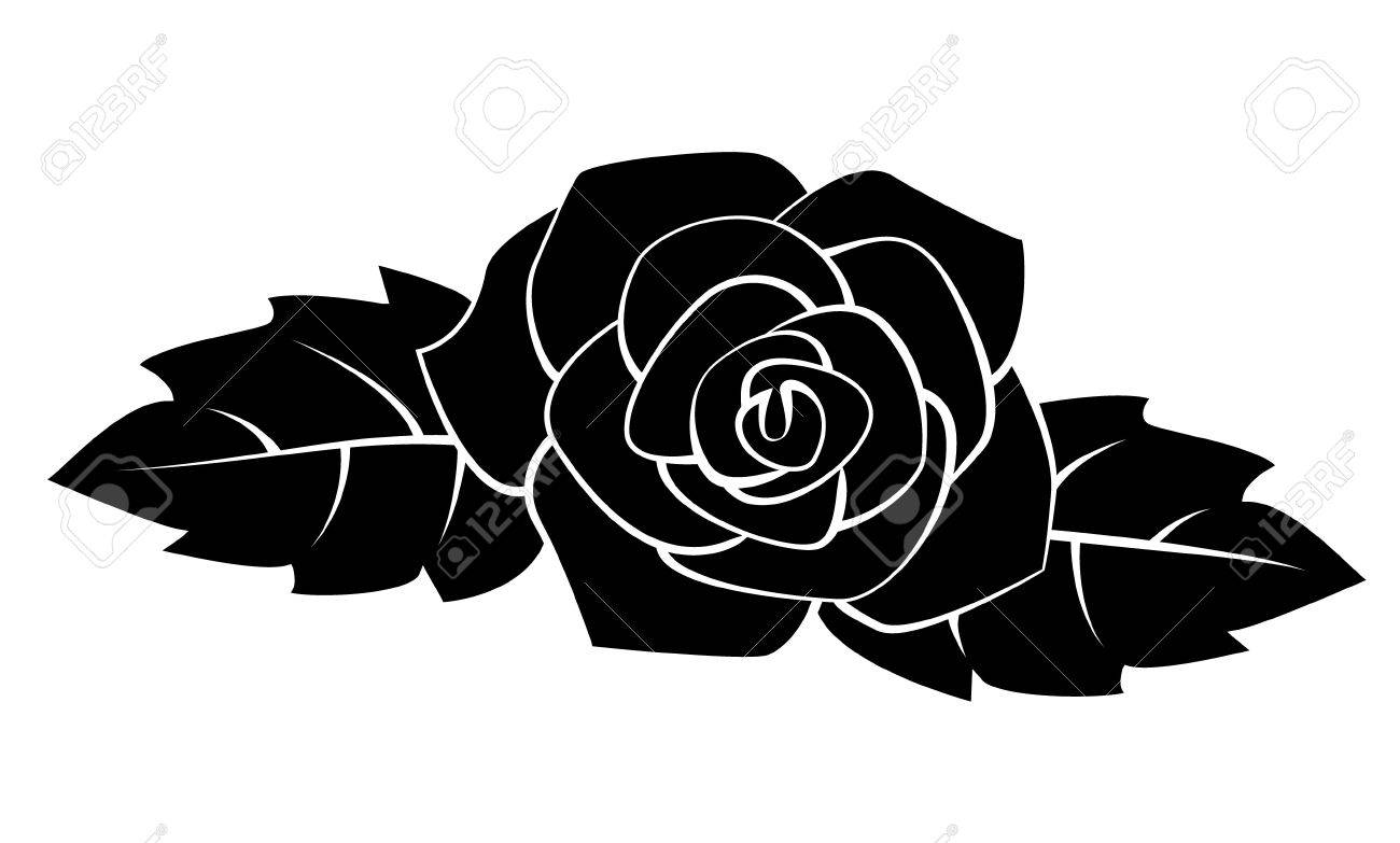 Black Silhoutte Of Rose Vector Illustration Royalty Free Cliparts