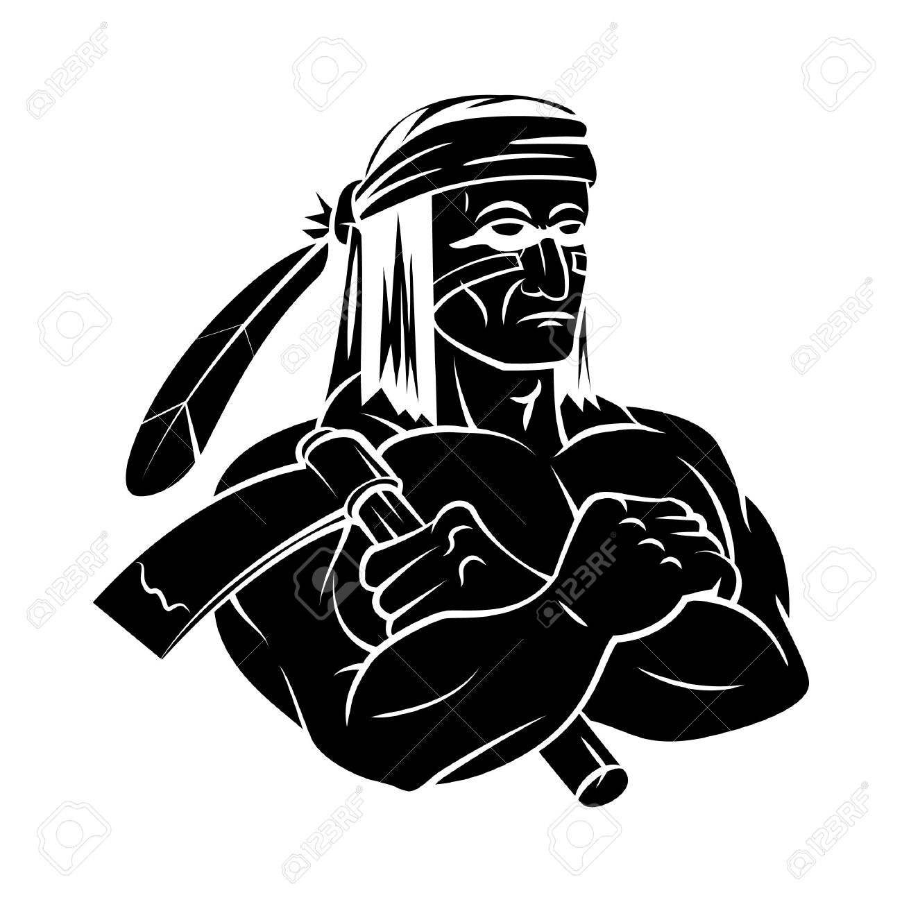 Apache Mascot Tattoo Royalty Free Cliparts Vectors And Stock
