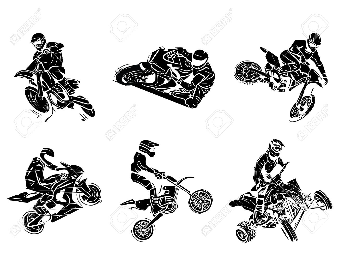Motorbike Tattoo Collection Royalty Free Cliparts Vectors And