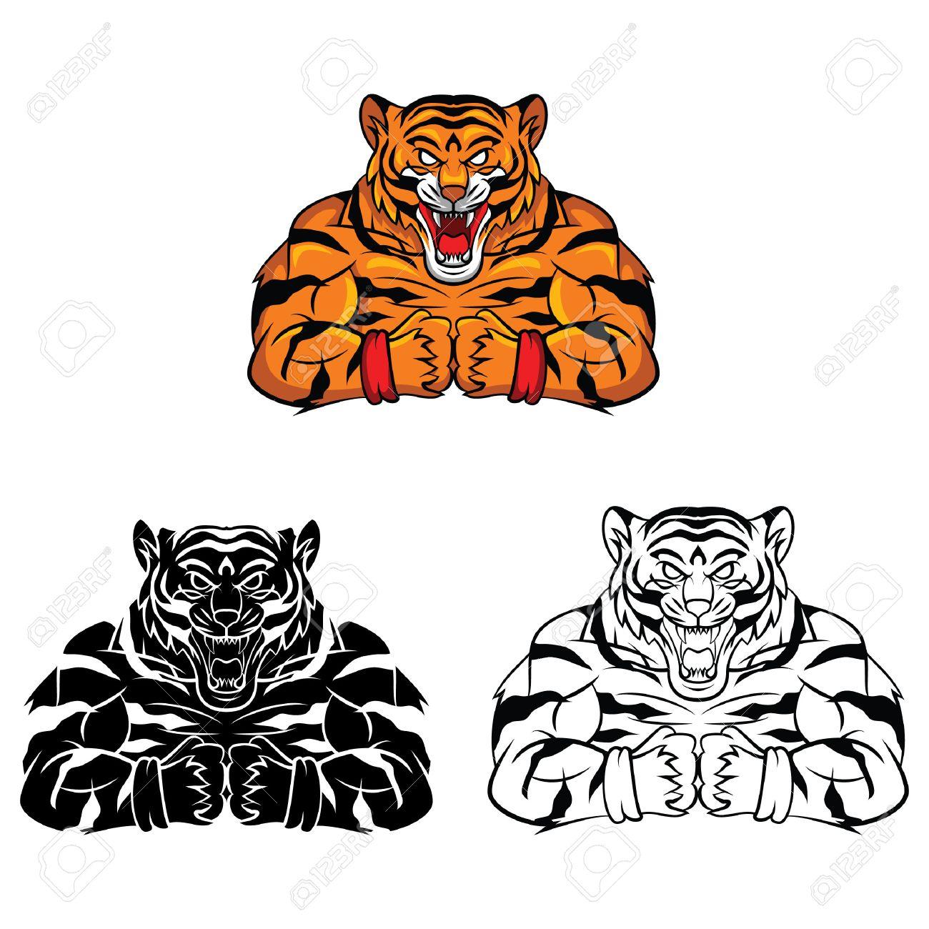 Libro Para Colorear Tigre Carácter Fuerte Dibujos Animados