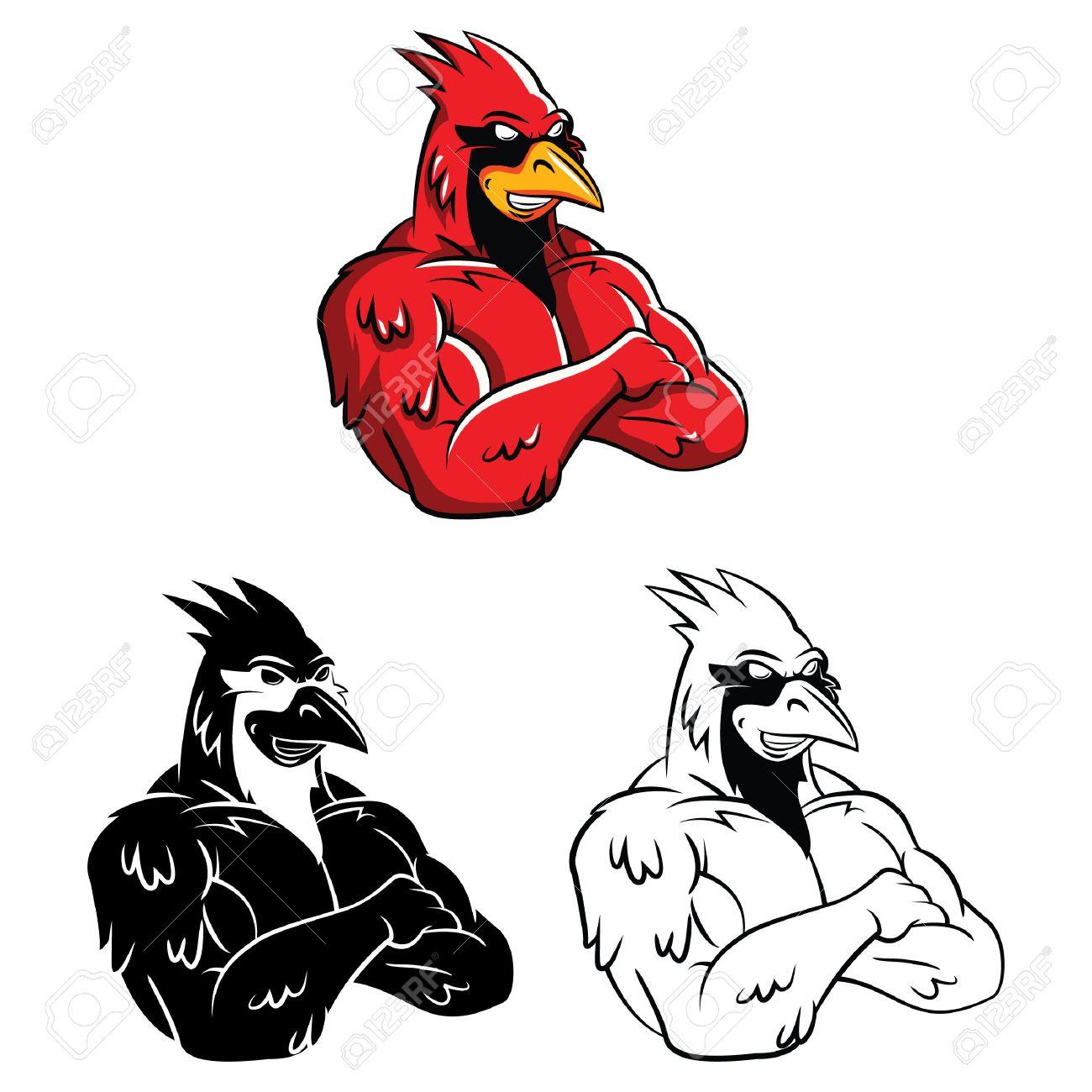 Coloring Book Cardinal Bird Cartoon Character Stock Vector