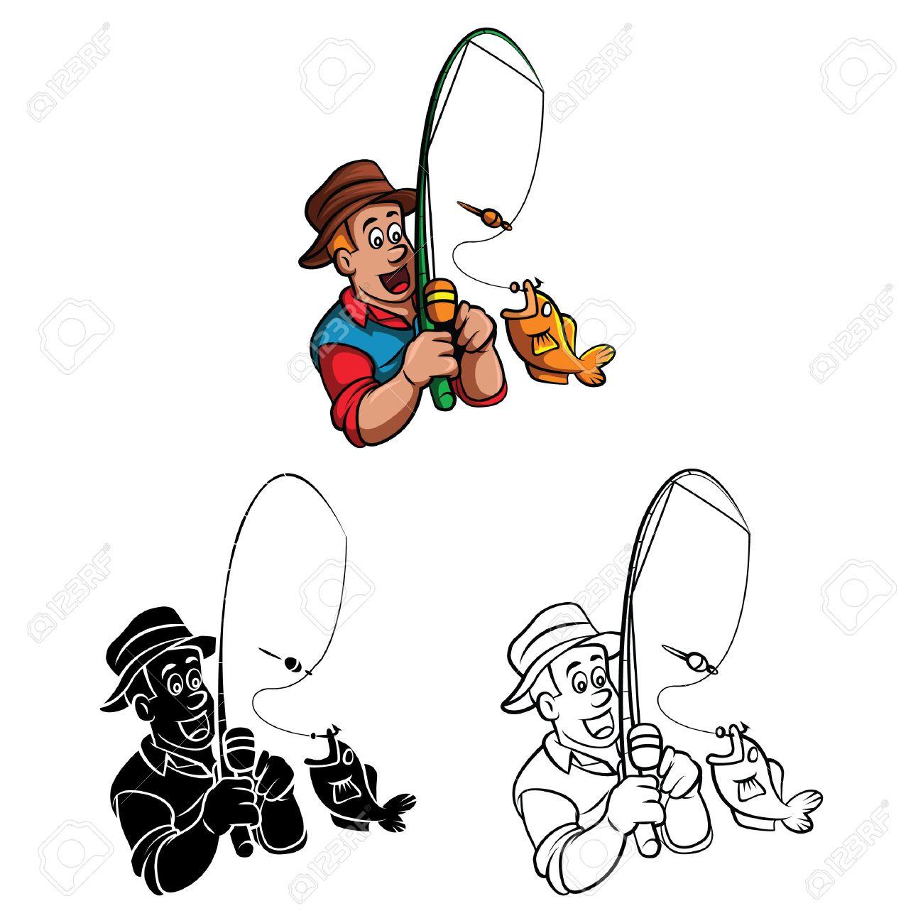 Libro Para Colorear Dibujos Animados Carácter Pescador Ilustraciones ...