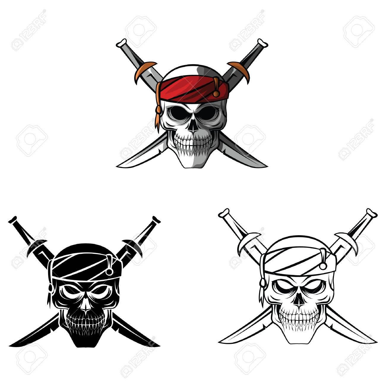 Libro Para Colorear Pirata Del Cráneo Personaje De Dibujos Animados