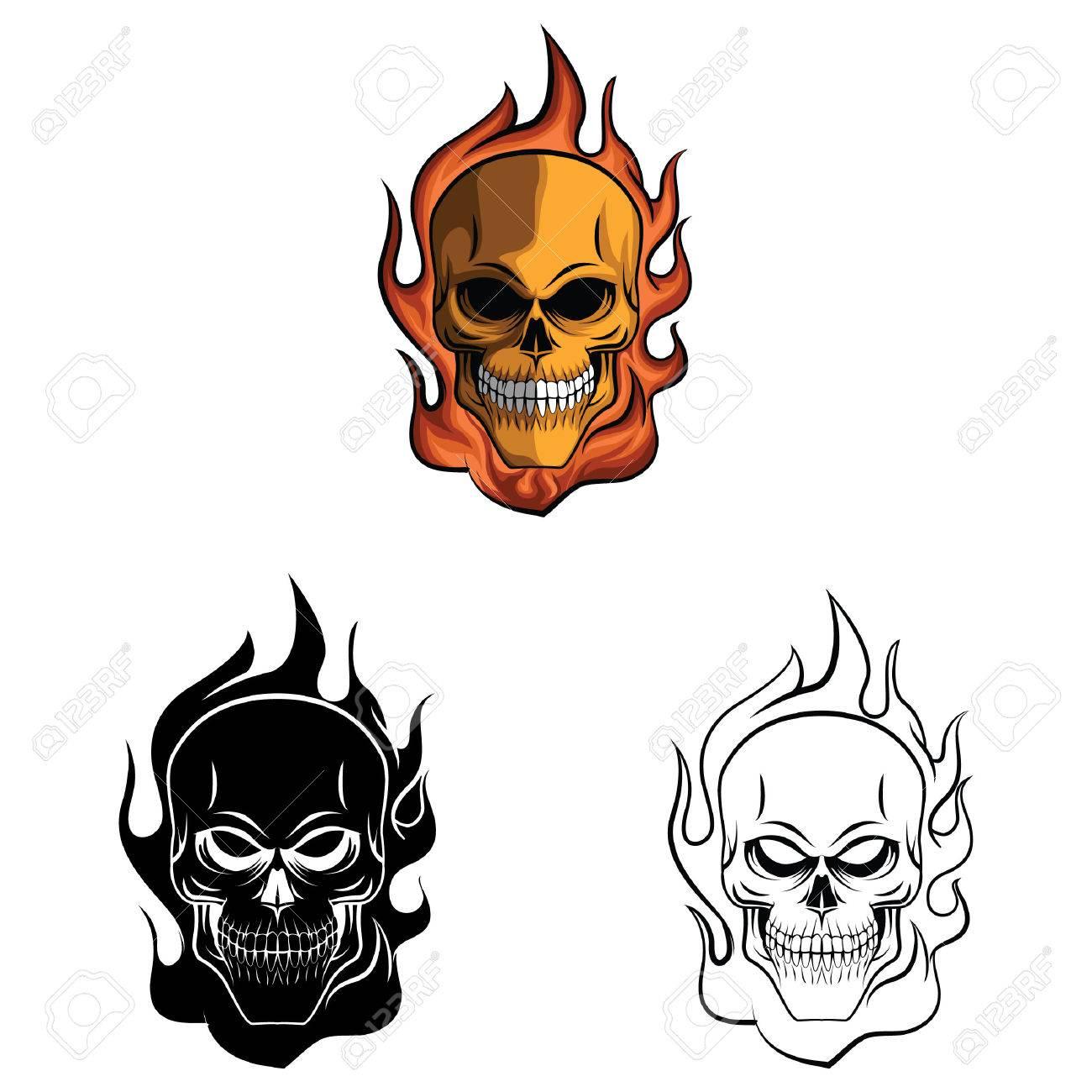 Libro Para Colorear Dibujos Animados Del Fuego Del Cráneo ...