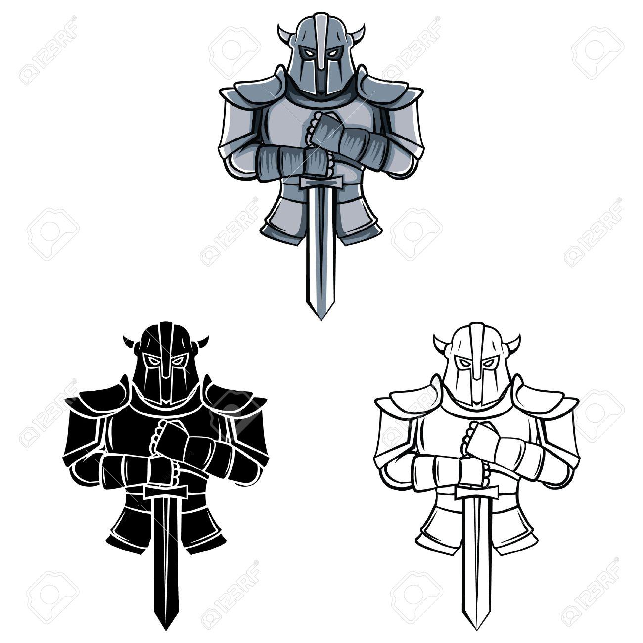 Coloring Book Knight Cartoon Character - Vector Illustration Royalty ...