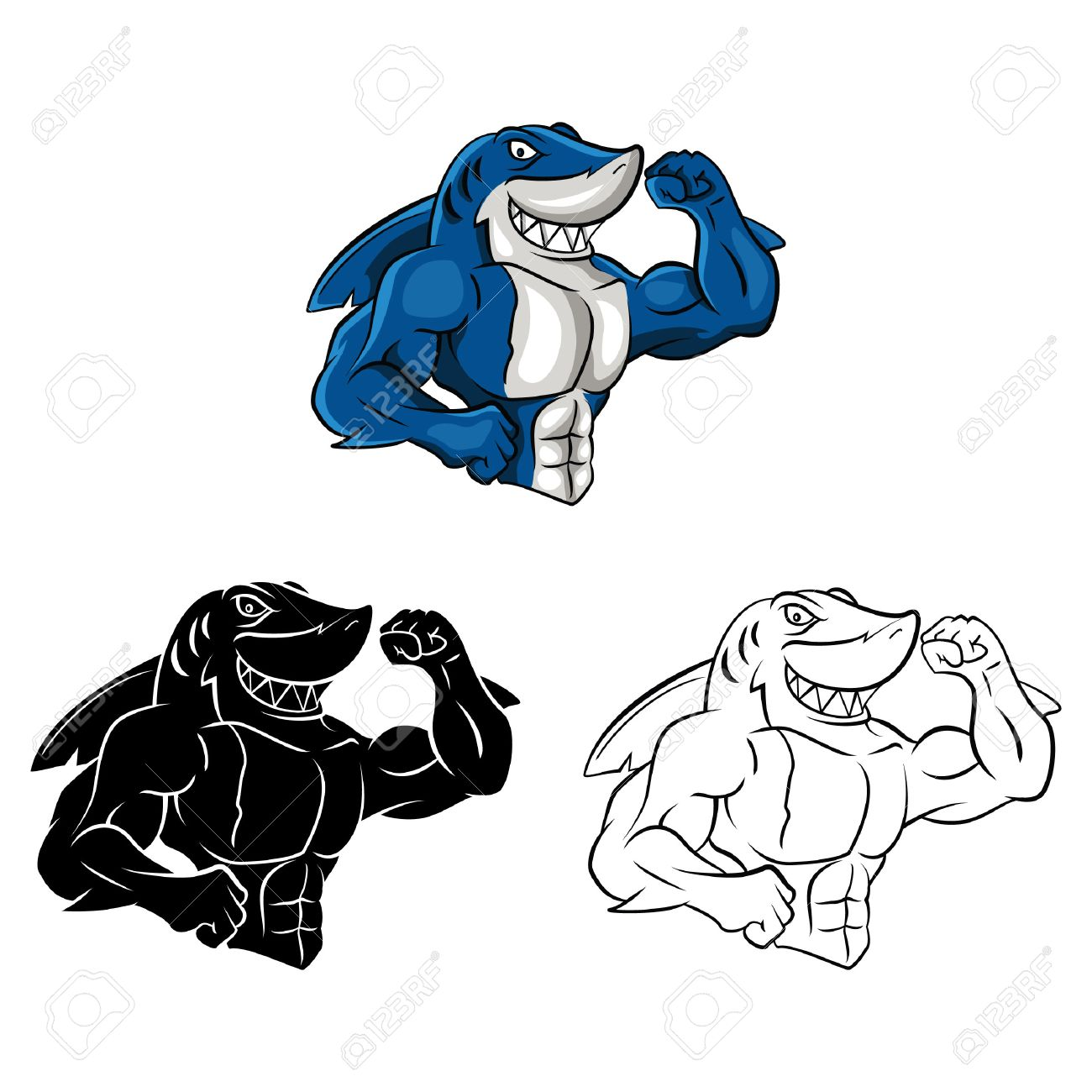 Coloring Book Shark Muscle Cartoon Character - Vector Illustration ...
