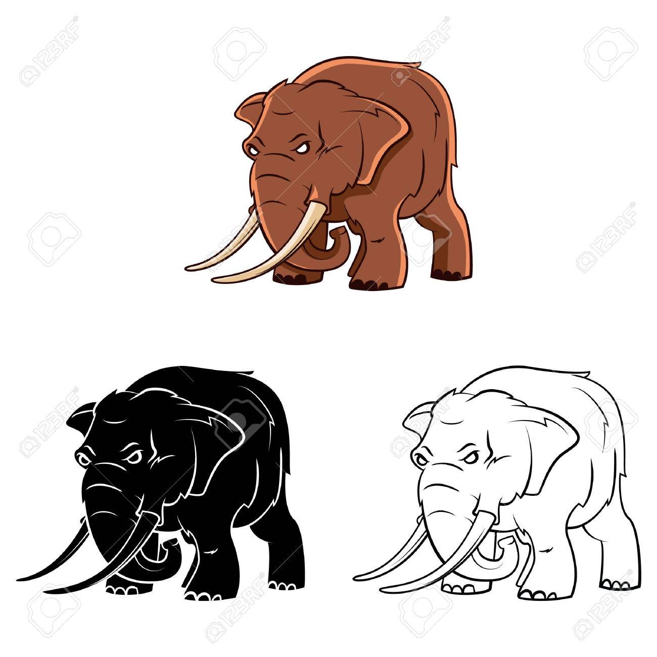 Coloring Book Elephant Trunk Cartoon Character - Vector Illustration ...