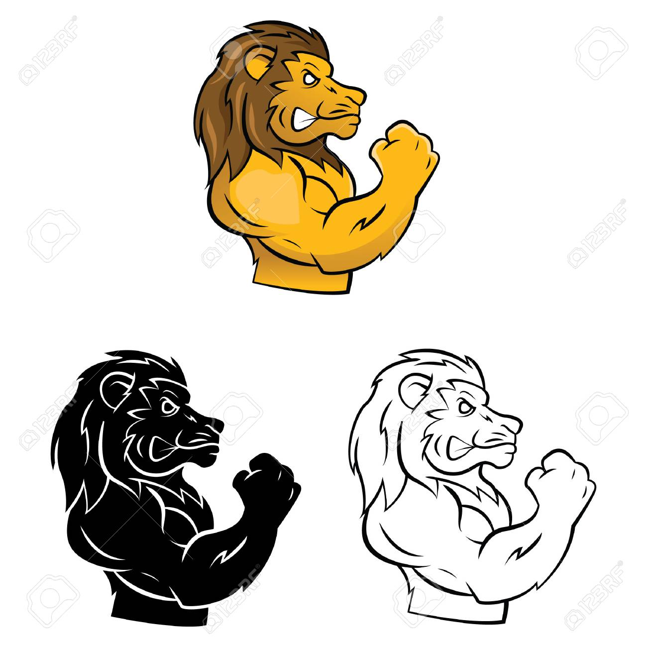 Coloring Book Lion Mascot Cartoon Character Vector Illustration