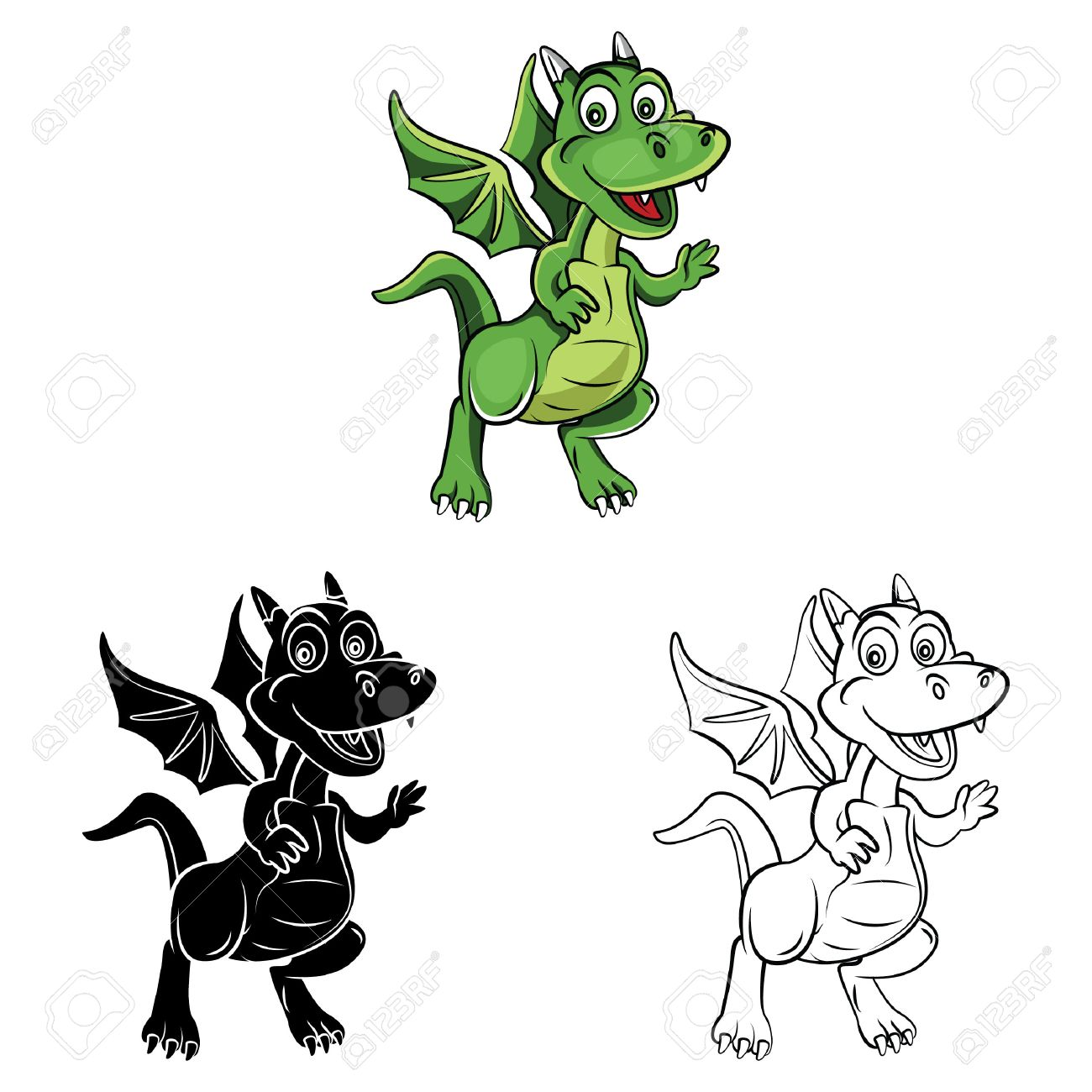 Coloring Book Dragon Kids Cartoon Character Vector Illustration