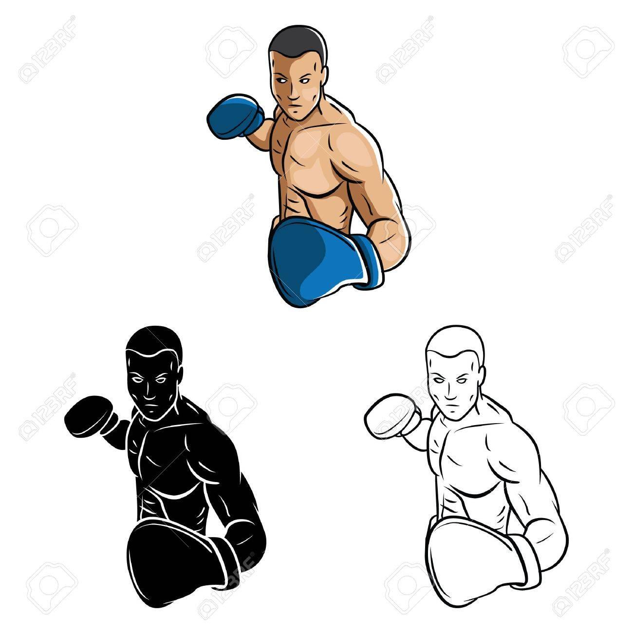 Personaje De Dibujos Animados Para Colorear Libro Boxeador