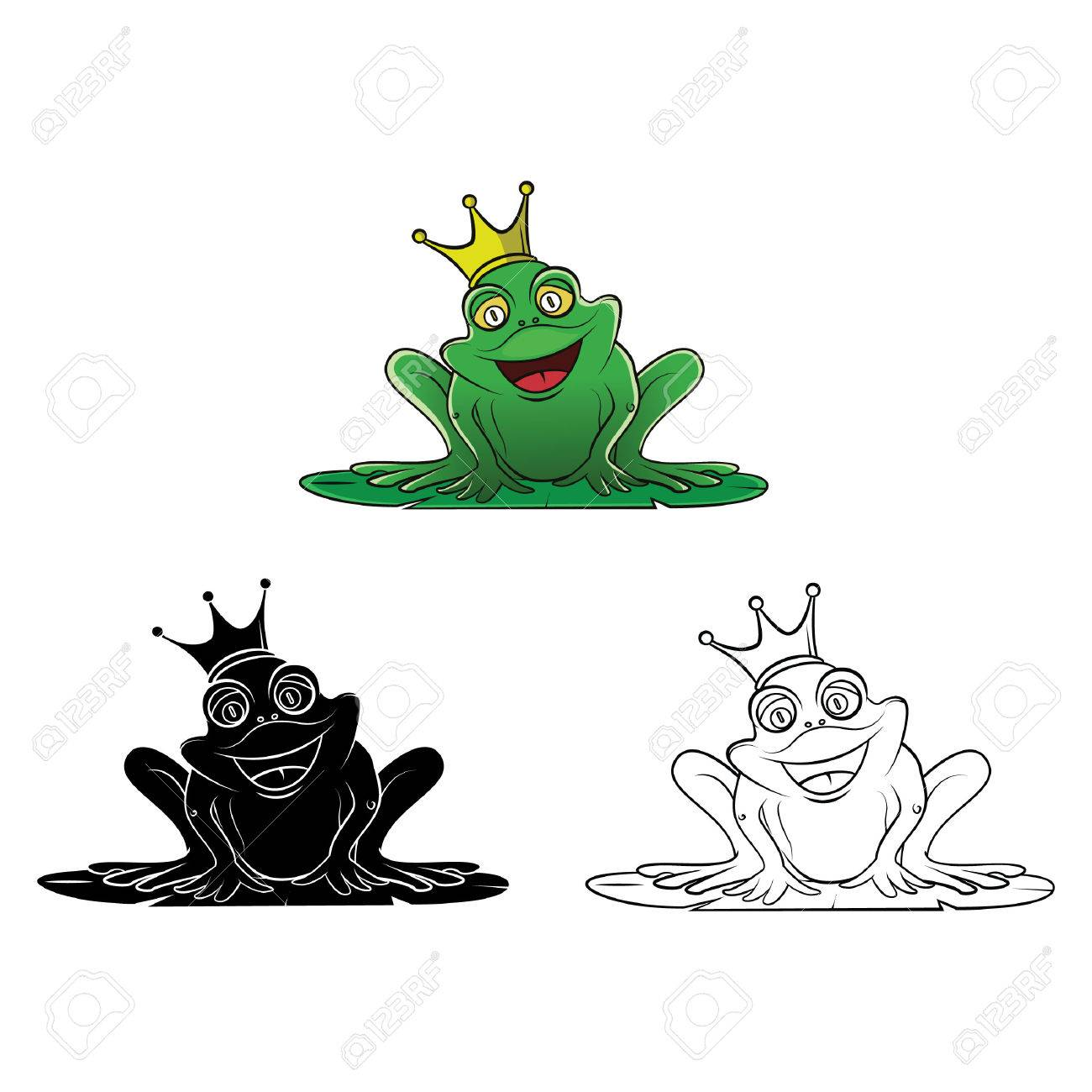 Coloring Book Frog King Cartoon Character