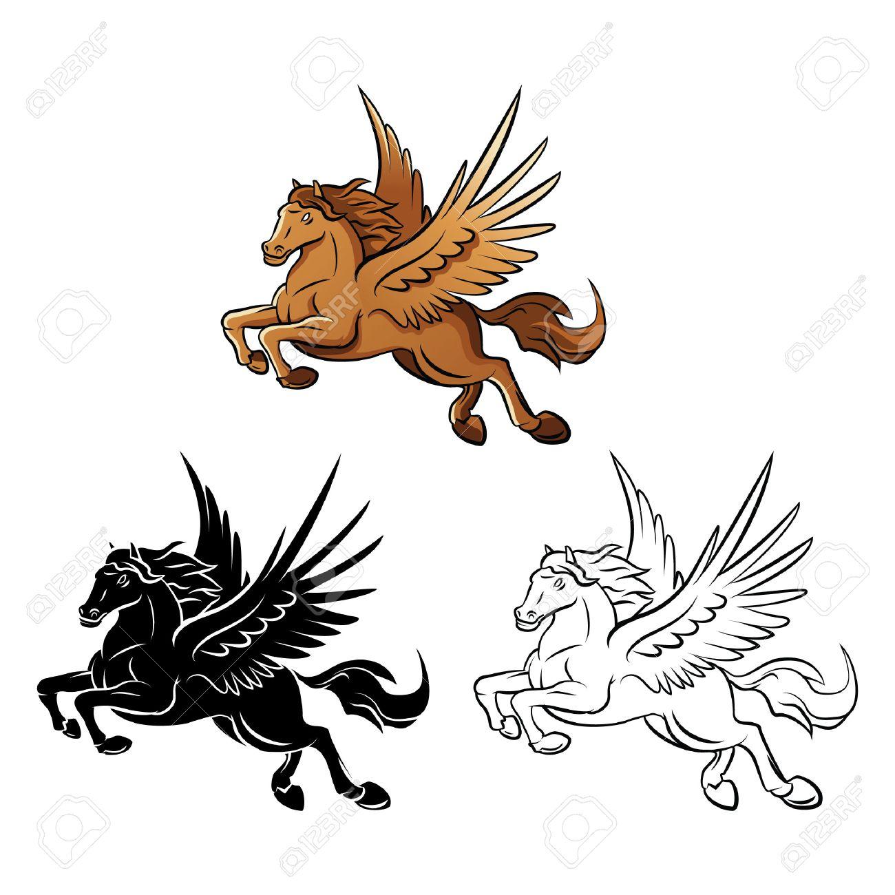 Malbuch Pferd Flügel Zeichentrickfigur Lizenzfrei Nutzbare ...