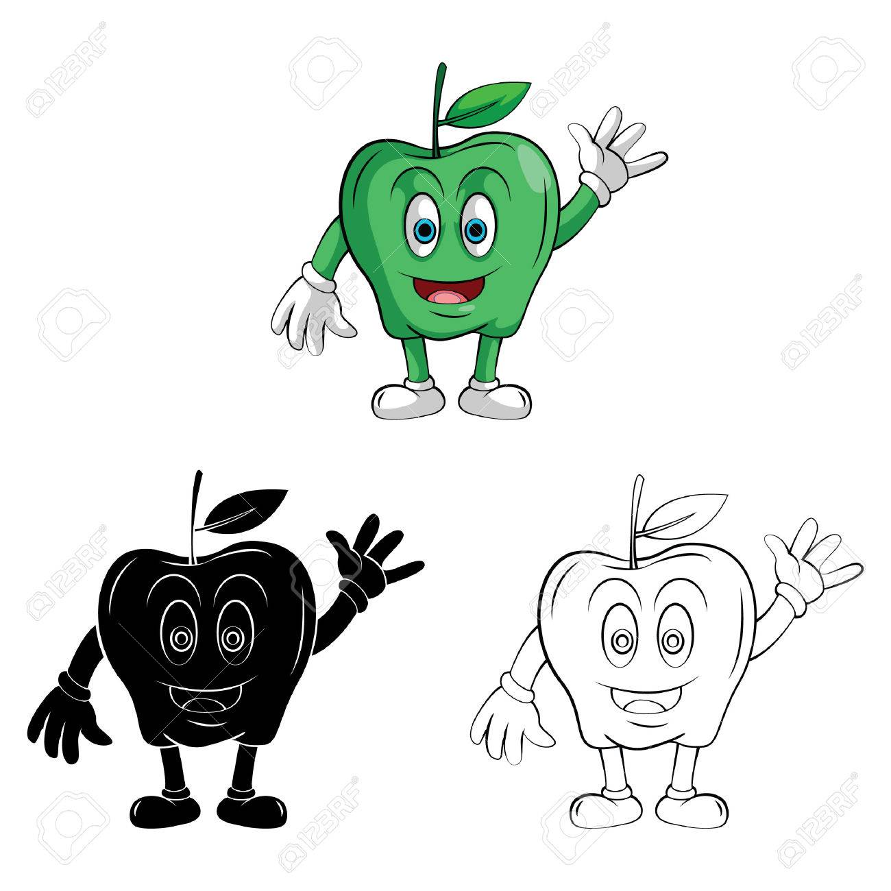 Coloring Book Apple Smile Cartoon Character Royalty Free Cliparts ...