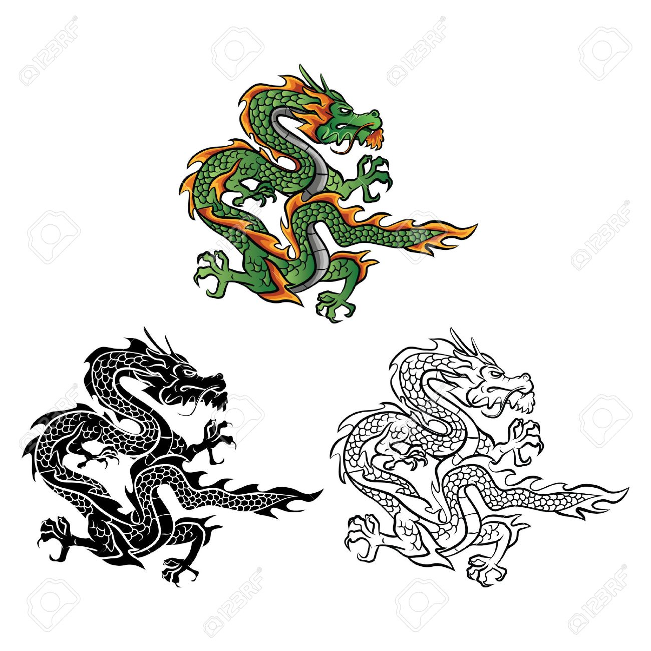 Coloring Book Dragon Vector Cartoon Character Stock
