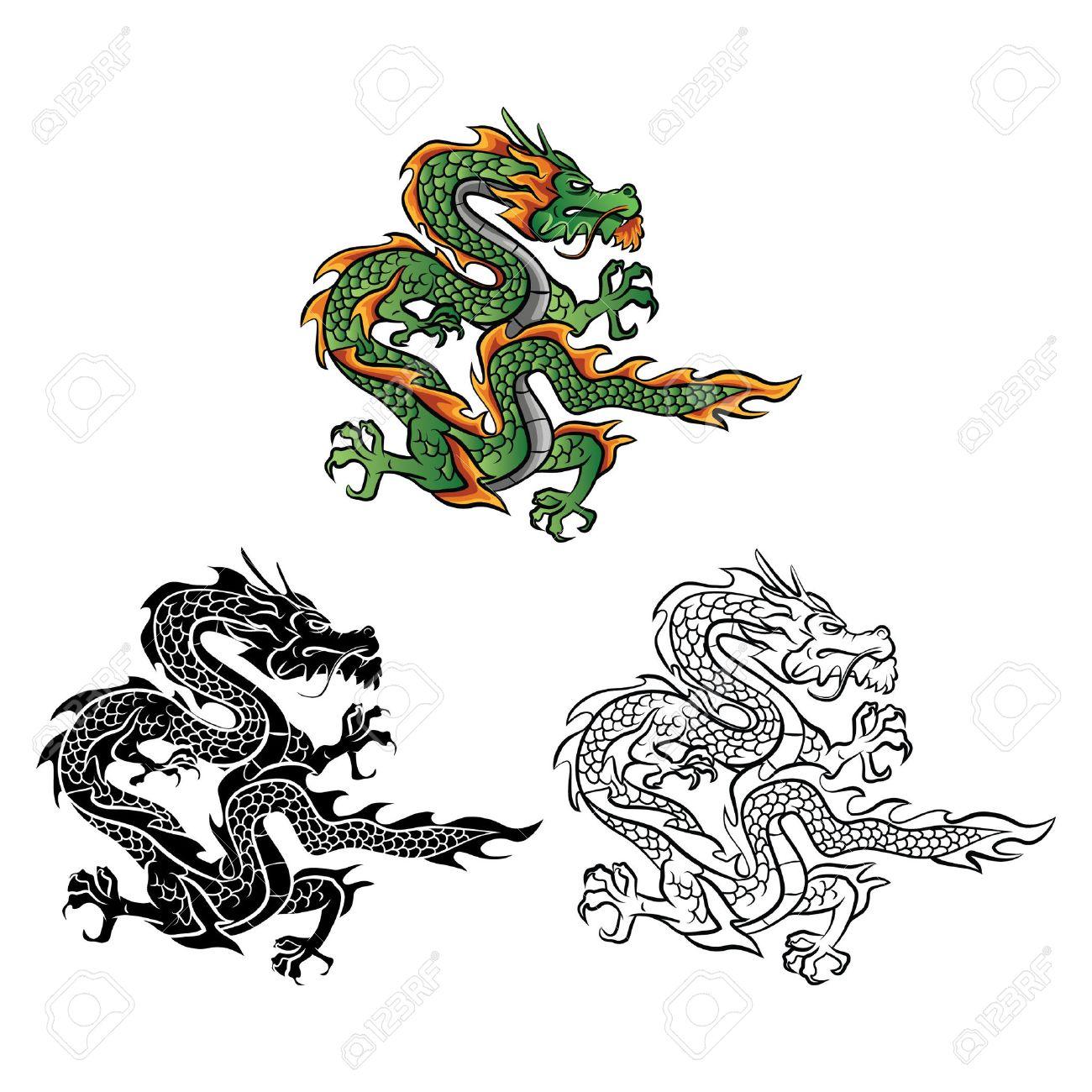 Coloring book Dragon Vector cartoon character - 37577658