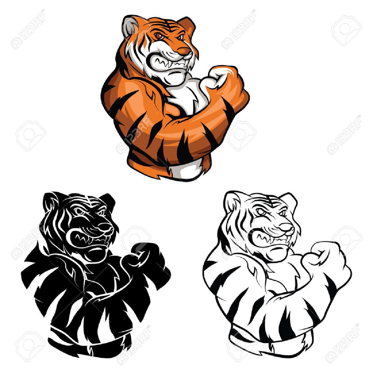 Coloring book Tiger Mascot cartoon character - 37576982