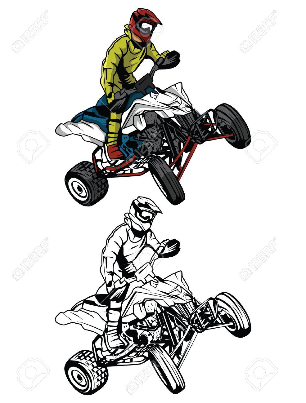 Coloring pages quad bike - Quad Bike Coloring Book Atv Moto Rider Cartoon Character Illustration