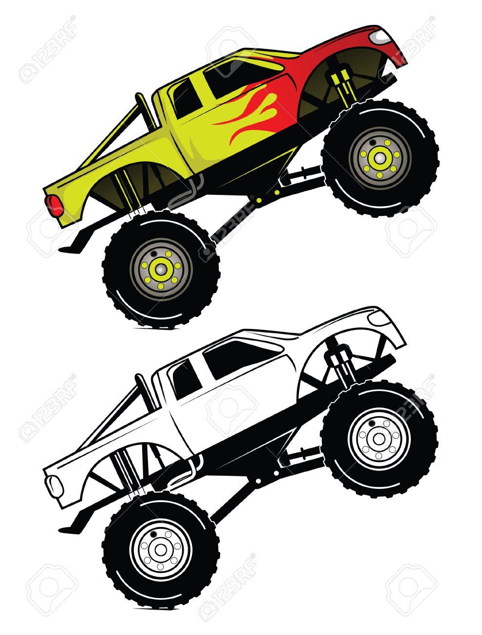 Camion Caractère De Bande Dessinée De Course Livre De Coloriage