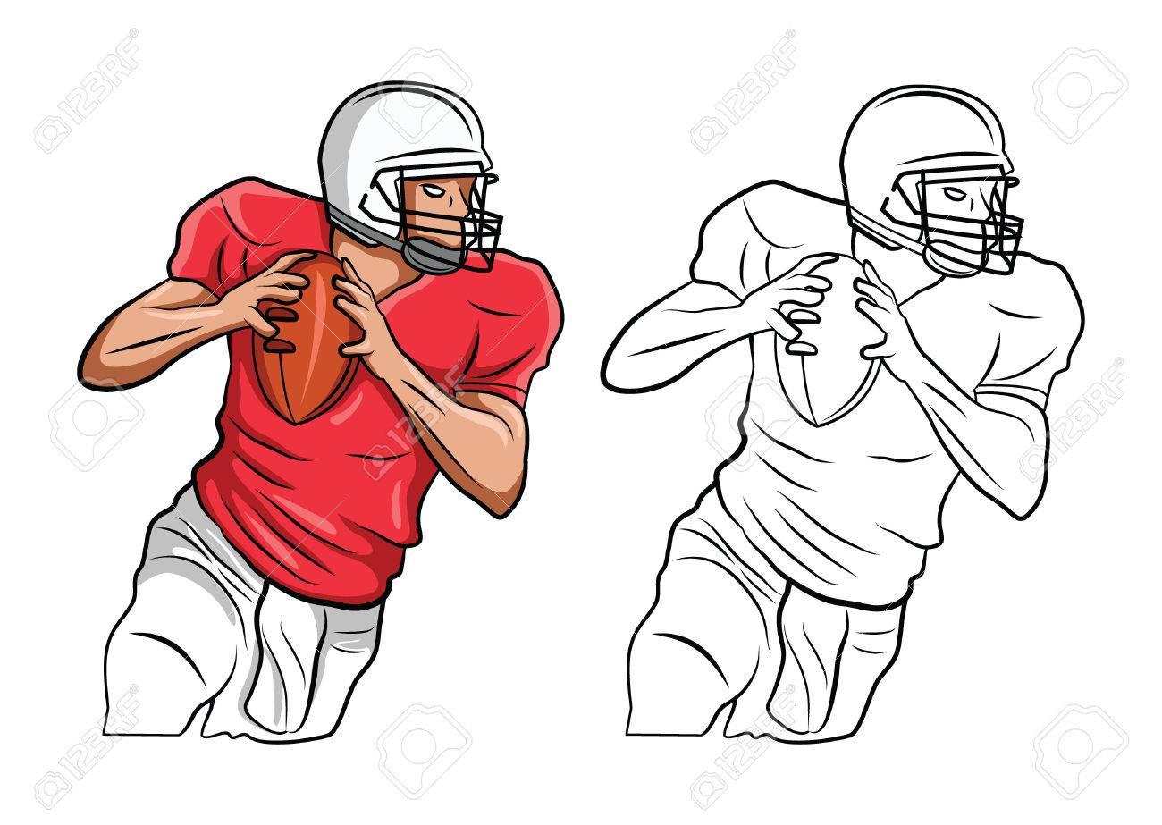 Libro Para Colorear Dibujos Animados De Fútbol Americano