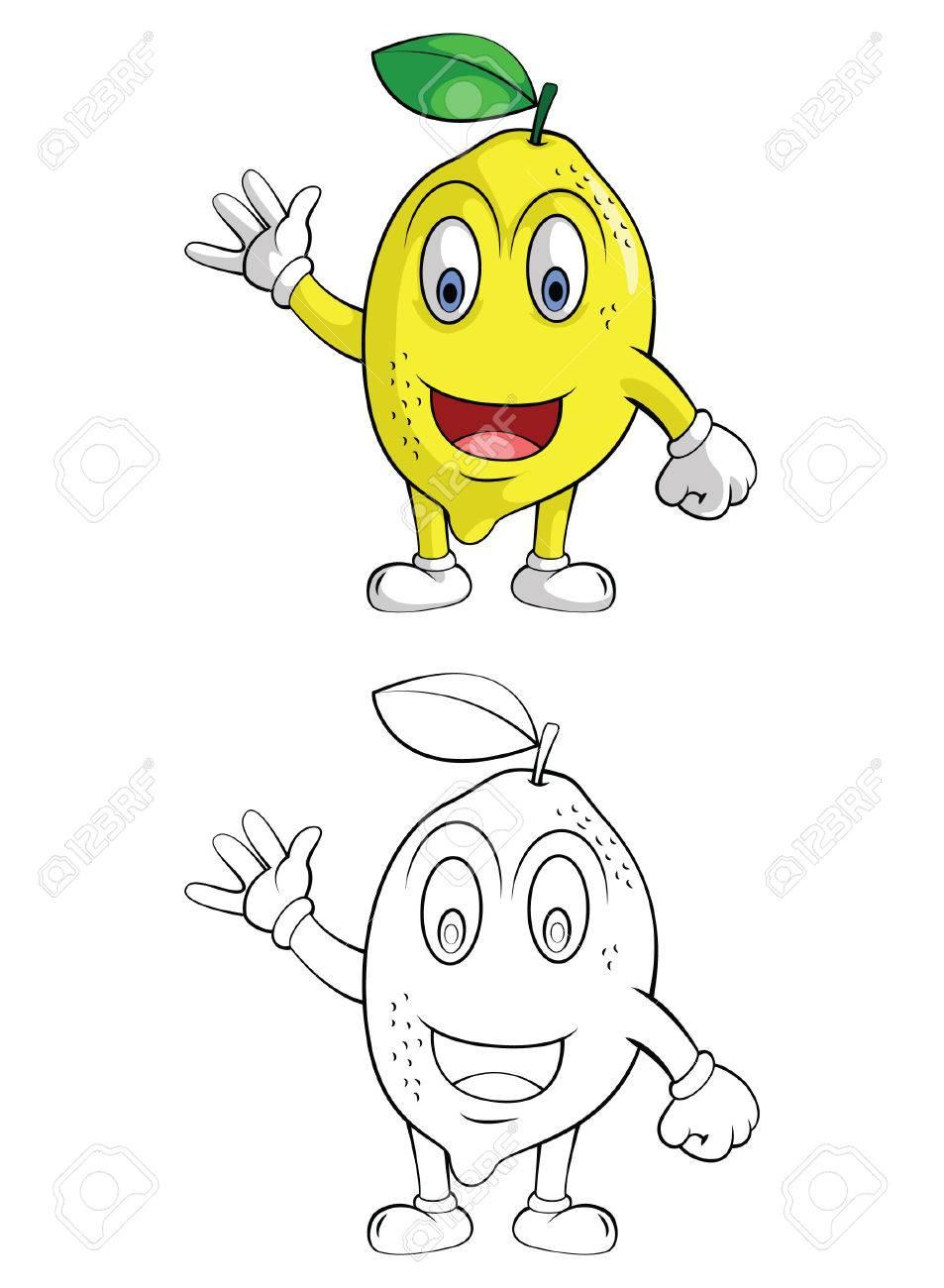 Libro Para Colorear Dibujos Animados Carácter Limón Naranja Sonrisa
