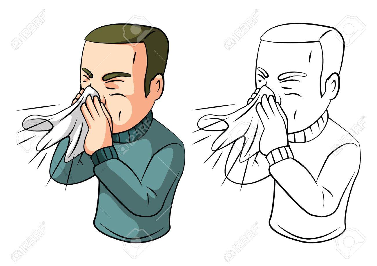 Coloring book sneezing man cartoon character - 37576880