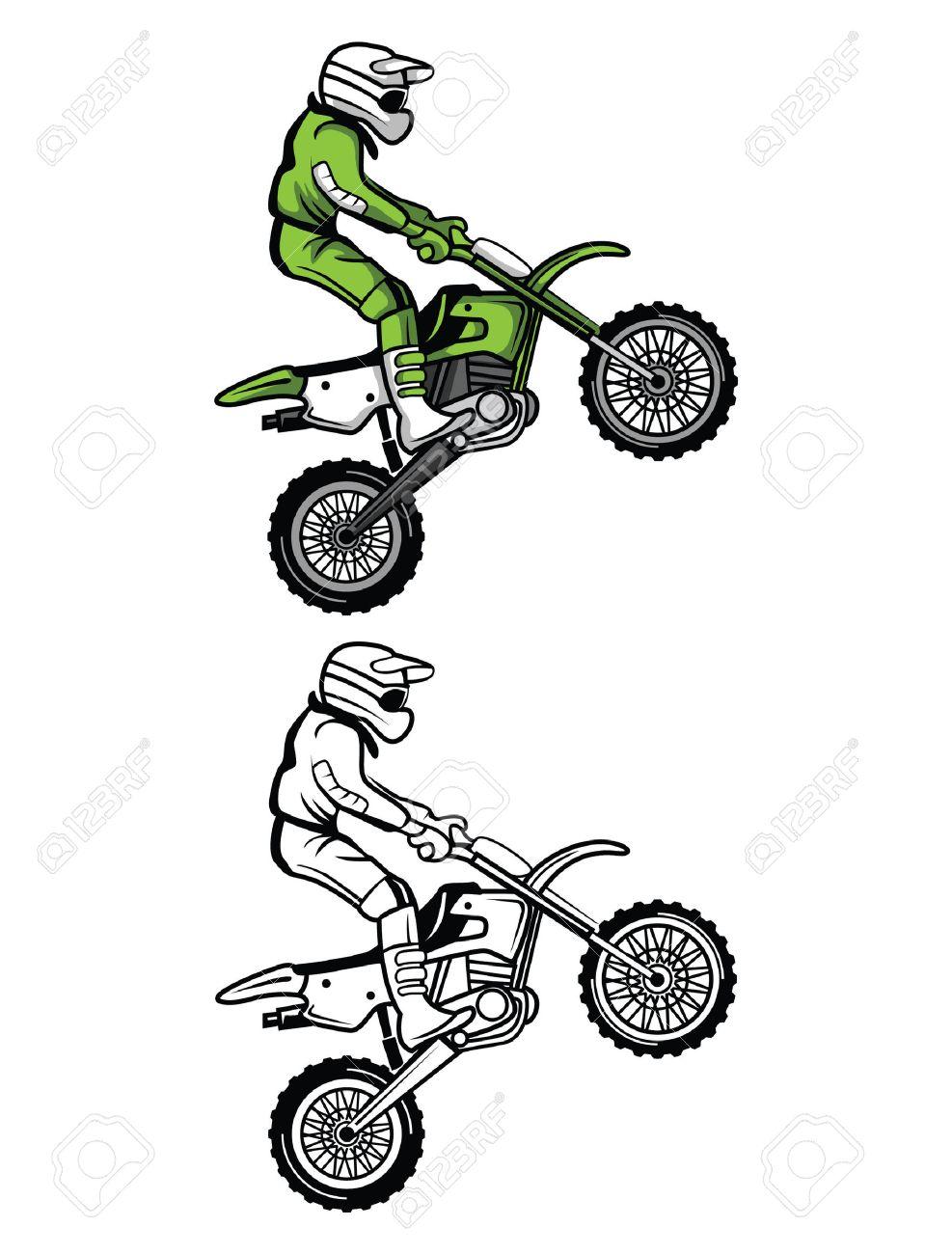 Personnage De Dessin Animé Livre De Coloriage Moto Cross
