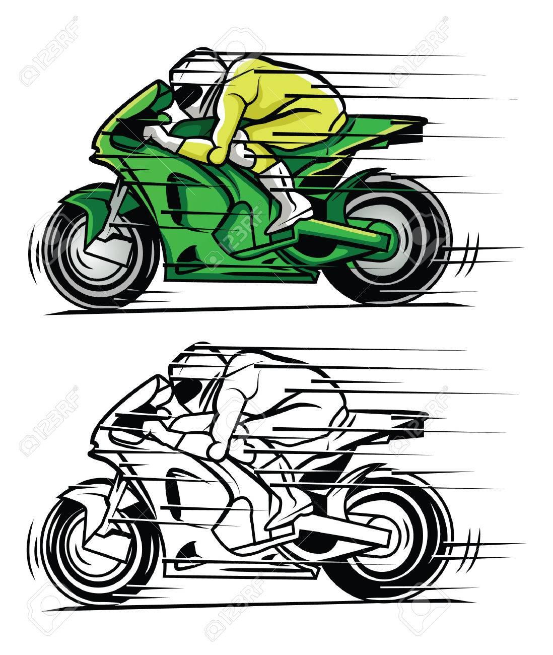 Libro Para Colorear Dibujos Animados Carácter Moto Race ...