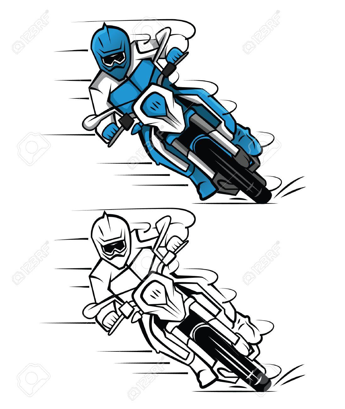 Personnage De Dessin Anime Livre De Coloriage Moto Cross Clip Art Libres De Droits Vecteurs Et Illustration Image 37581115