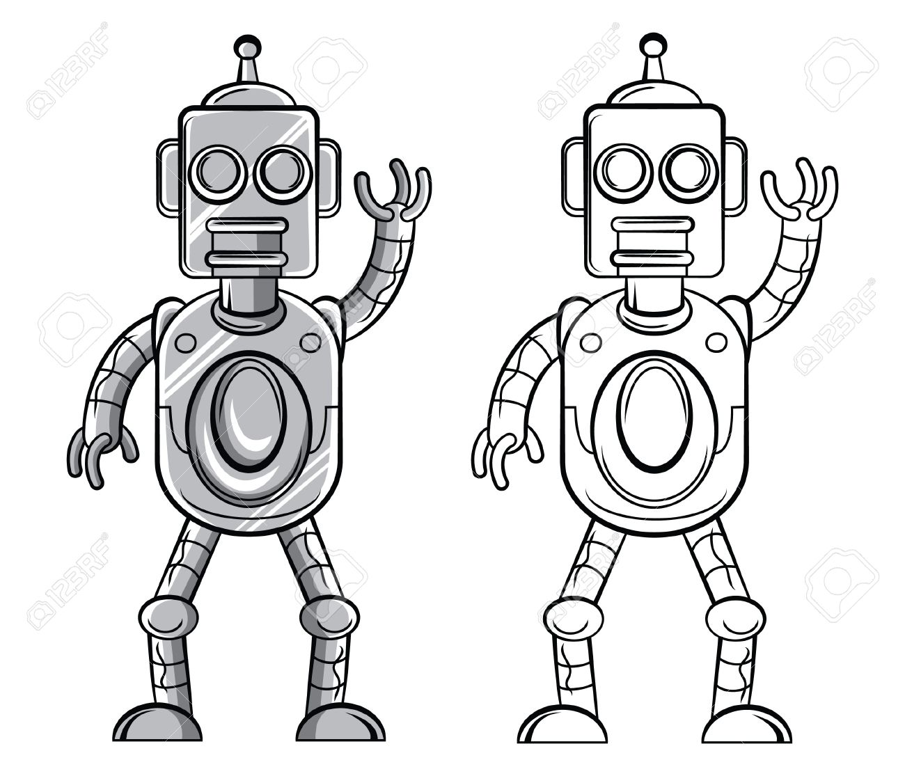 Coloring Book Robot Cartoon Character Stock Vector